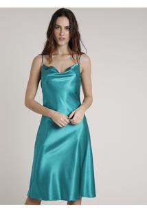 Vestido Slip Dress Feminino Mindset Midi Acetinado Alça Fina Gola Degagê Verde