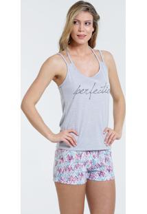 Pijama Feminino Short Doll Tiras Frase Marisa