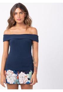 Blusa Canelada Ombro A Ombro Feminina - Feminino-Azul Escuro