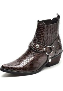 Bota Country Top Franca Shoes Bico Fino Masculina - Masculino-Cafe