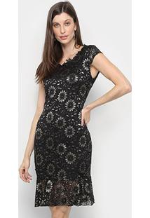 Vestido Lily Fashion Curto Floral Renda - Feminino-Preto+Bege