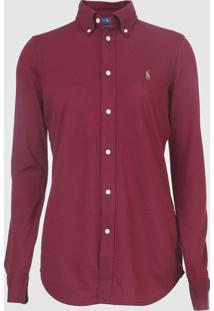 Camisa Polo Ralph Lauren Reta Logo Vinho