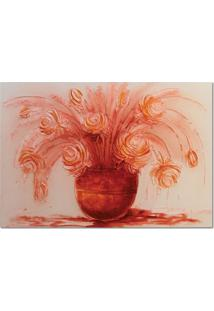Quadro Artesanal Com Textura Rosas Vermelho Ii 70X100 Uniart