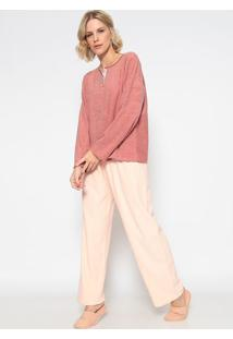Pijama Manga Longa Com Abertura & Calã§A- Ros㪠& Rosa Clasonhart