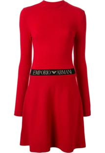 Emporio Armani Vestido Evasê Acinturado - Vermelho