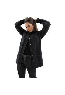 Jaqueta Zaiz Jeans Alongada Denim Black