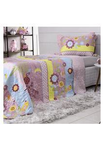 Kit Cobre Leito Casal + Porta Travesseiro Rolinho Kids Birds - Bene Casa