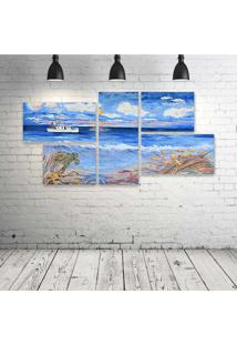 Quadro Decorativo - Fishing-Boat - Composto De 5 Quadros
