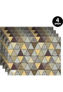 Jogo Americano Mdecore Abstrato 40X28 Cm Amarelo 4Pçs