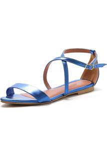 Sandália Rasteira Lafiume Fivela Metalizada Azul - Tricae