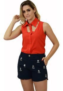 Camisa Energia Fashion Sem Manga Laranja