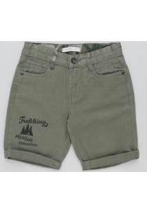 """Bermuda Color Infantil Reta """"Trekking"""" Verde Militar"""
