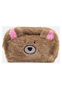 Necessaire Tijolo Com Pelinhos Estampa Urso   Accessories   Marrom   U