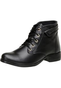 Bota Casual Ousy Shoes Recortes Preto