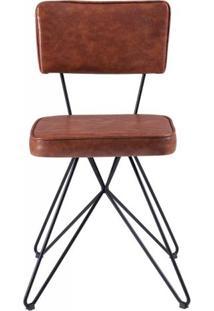 Cadeira Pop Retro Courissimo Marrom Base Estrela Preta 53Cm - 61250 - Sun House