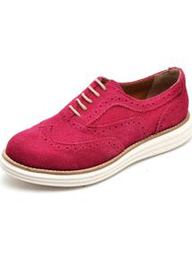 Sapato Social Top Franca Shoes Oxford Camurca Fuscia