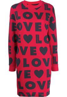 Love Moschino Vestido Com Estampa Love - Vermelho