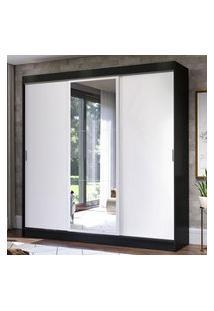 Guarda-Roupa Casal Madesa Istambul 3 Portas De Correr Com Espelho 3 Gavetas - Preto/Branco Preto