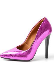 Scarpin Factor Salto Alto - Largato Pink - Kanui