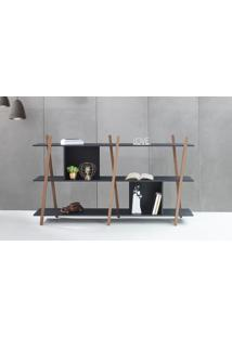 Aparador De Sofá Sue - Estante Moderna Baixa Preta Com Pés De Madeira Cor Nogueira - 180X38X100 Cm