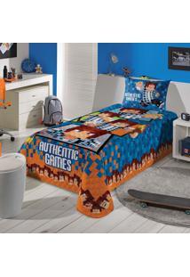 Edredom Infantil Solteiro Lepper Authentic Games 150X200Cm Azul