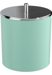 Lixeira Com Tampa- Inox & Verde Claro- 22,4X20X19,5Ccoza