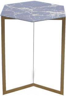 Mesa Com Vidro- Preta & Chumbo- 55,5X40,5X47Cm- Decor Glass