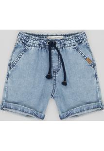 Bermuda Jeans Infantil Com Cordão Azul Claro