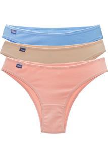 Kit Mury'S 3 Tanga Calcinha Cotton Cavada - Bege/Multicolorido - Feminino - Algodã£O - Dafiti
