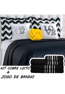 Kit Combo Cobre Leito C/ Jogo De Banho Isabela Preto/Amarelo Queen 13 Peças.