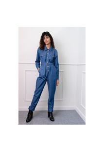 Macacão Sisal Jeans Utilitário Blue Jeans