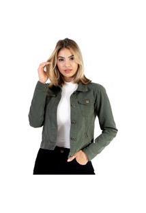 Jaqueta Lady Rock Sarja Verde Militar