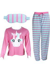 Pijama Ayron Fitness Unicórnio Rosa Adulto Tapa Olho - Kanui