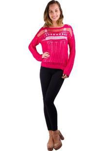 Blusa Banna Hanna Vazada Em Trico Pink - Feminino-Pink