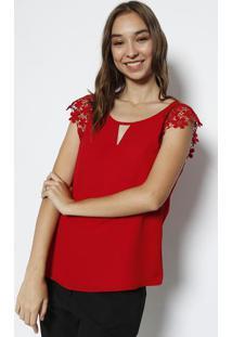 Blusa Lisa Com Renda - Vermelha- Milioremiliore
