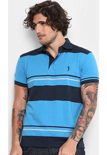 Camisa Polo Aleatory Malha Fio Tinto Masculina - Masculino-Azul+Marinho
