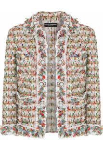 Dolce & Gabbana Jaqueta De Tweed Com Botões - Branco