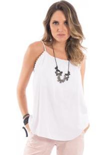 Blusa Lisa Floriá Feminina - Feminino-Branco