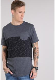 Camiseta Masculina Recortes Com Bolso Manga Curta Gola Careca Cinza Mescla Escuro