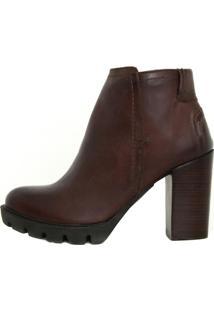Bota Retta Shoes Cano Curto Tratorada Marrom