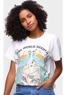 Camiseta Colcci The Word Needs Feminina - Feminino-Off White