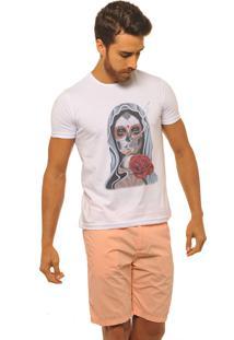 Camiseta Masculina Joss Premium New Santa Skull Branca