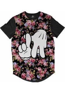 Camiseta Longline Bsc Floral Top Mão La Sublimada Masculina - Masculino-Preto