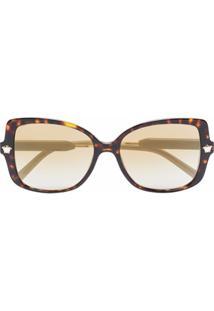 Versace Eyewear Óculos De Sol Oversized - Marrom