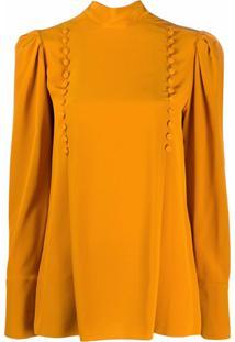 Givenchy Blusa Gola Alta Com Aplicação De Botões - Laranja