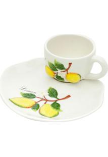 Xícara De Café Com Pires Limão Branca 150 Ml