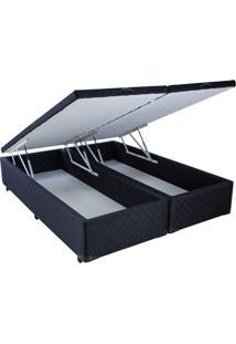 Cama Box Baú Black Em Tecido Com Pistão Hidráulico - King Size - 193 X 203
