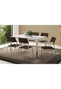 Conjunto Mesa 1526 Branca Com 6 Cadeiras 1711 Cromada/Cacau Carraro