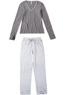 Pijama Longo Strass Feminino
