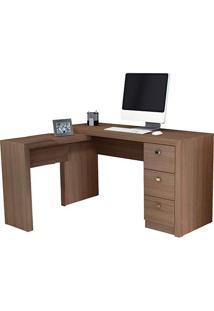 Mesa Para Escritório Me4101 3 Gavetas Amêndoa - Tecno Mobili